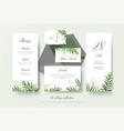 wedding greenery cards collection with palm leaves vector image vector image