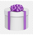 white gift box with a purple bow icon flat style vector image vector image