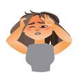 woman having severe headache migraine vector image vector image
