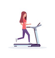 woman running treadmill sportswoman working out vector image vector image