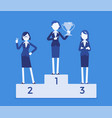 women put on pedestal of honor vector image