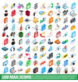 100 mail icons set isometric 3d style vector image vector image