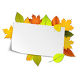 Autumn card with colored leaves in background vector image vector image