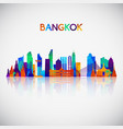 bangkok skyline silhouette in colorful geometric vector image