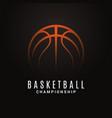 basketball championship logo ball on black object vector image