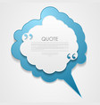 blue cloud speech bubble with commas quote vector image