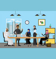 cartoon arabic business people working at modern vector image vector image