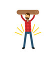 cartoon of strong bearded man vector image vector image