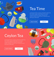 cartoon tea kettles and cups web banner vector image