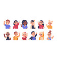children waving cartoon elementary school kids vector image vector image