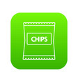 chips icon green vector image vector image
