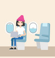 cute teenage girl sitting on the plane editable vector image vector image