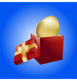 Easter golden egg and gift box vector image vector image