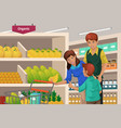 family shopping fruits in a supermarket vector image