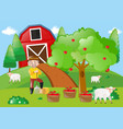 farmer standing by the apple tree in the farm vector image