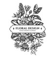 floral bouquet design with black and white vector image vector image