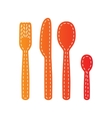 Fork spoon and knife sign Orange applique vector image vector image