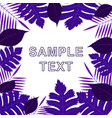 frame of different purple leaves on background vector image vector image