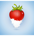 Fresh Strawberry Dipped In Ice Cream Milk Isolated vector image