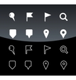 GPS and Navigation icons on black background vector image vector image