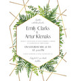 greenery gold wedding invite card modern design vector image vector image