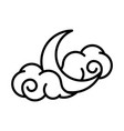 half moon clouds sky night white background linear vector image