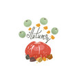 harvest or thanksgiving background with pumpkins vector image vector image
