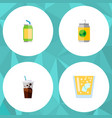 icon flat soda set of juice drink beverage and vector image