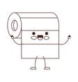 kawaii cartoon roll paper towel in brown vector image vector image