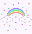 kawaii clouds and rainbow icon over white vector image vector image