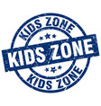 kids zone blue round grunge stamp vector image vector image