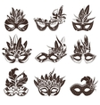 Mask Black White Icons Set vector image vector image