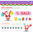 merry christmas infographic elements with santa vector image