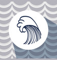 ocean waves inside circle emblem design vector image vector image