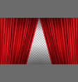 opening realistic red curtain with high detail vector image vector image