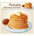 Pancakes with honey and butter Cartoon vector image