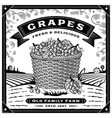 retro grapes harvest label with landscape black vector image vector image