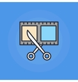 Scissors and film shot icon vector image vector image