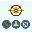 Set icons with bell lifebuoy ship wheel vector image