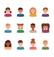 set of children avatars collection of portreits vector image
