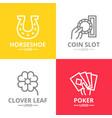 set of gambling and casino logo or insignia vector image vector image