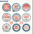set of retro vintage blue and red labels and vector image vector image