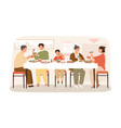 smiling korean family eating national food sitting vector image vector image