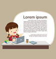 studens boy and e-learning concept background vector image vector image
