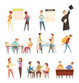 students retro cartoon set vector image