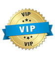 vip 3d gold badge with blue ribbon vector image