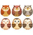 watercolor collection cute owls natural tones vector image