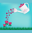 watering can contains full of red hearts vector image vector image