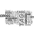web codes for blogs text word cloud concept vector image vector image