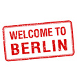 welcome to Berlin red grunge square stamp vector image vector image